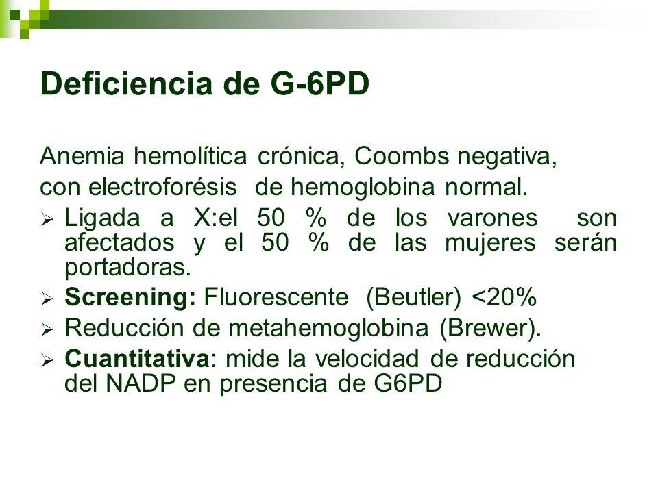 Deficiencia de G-6PD Anemia hemolítica crónica, Coombs negativa,