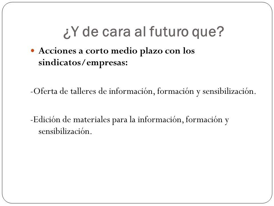 ¿Y de cara al futuro que Acciones a corto medio plazo con los sindicatos/empresas: