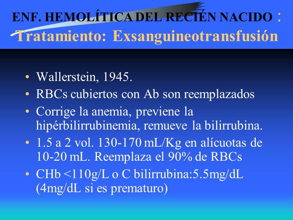 ENF. HEMOLÍTICA DEL RECIÉN NACIDO : Tratamiento: Exsanguineotransfusión