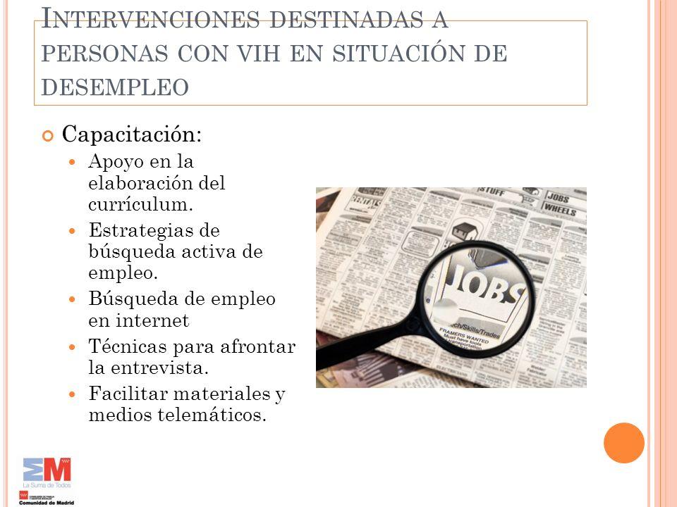 Intervenciones destinadas a personas con vih en situación de desempleo