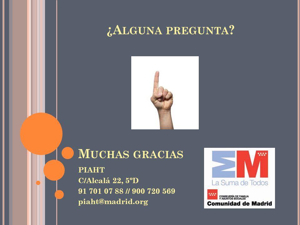 ¿Alguna pregunta Muchas gracias PIAHT C/Alcalá 22, 5ºD