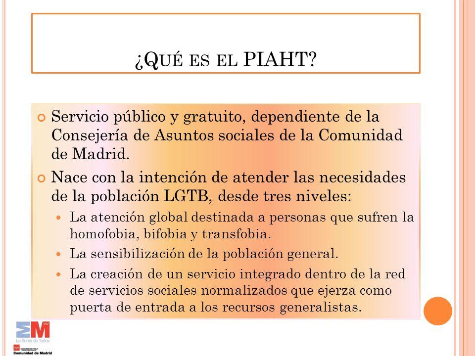 ¿Qué es el PIAHT Servicio público y gratuito, dependiente de la Consejería de Asuntos sociales de la Comunidad de Madrid.
