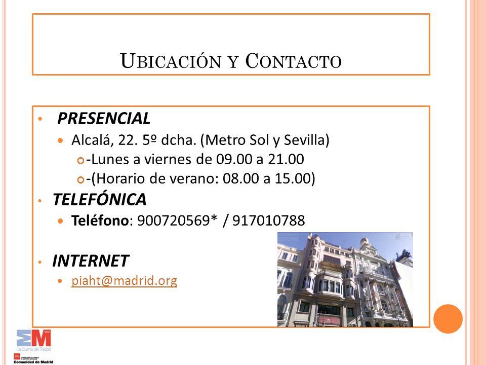 PRESENCIAL Ubicación y Contacto TELEFÓNICA INTERNET