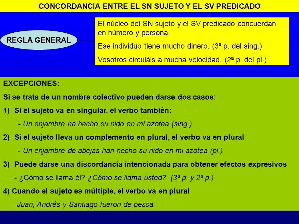 CONCORDANCIA ENTRE EL SN SUJETO Y EL SV PREDICADO