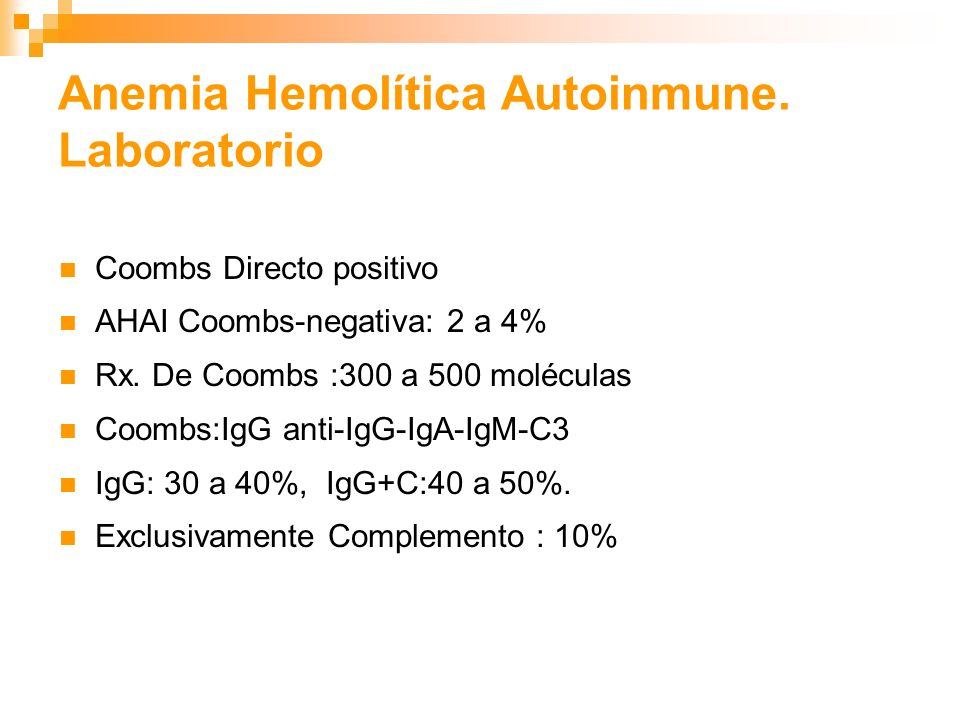 Anemia Hemolítica Autoinmune. Laboratorio