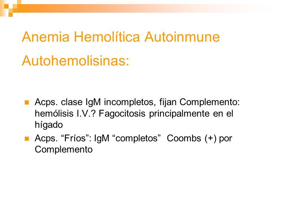 Anemia Hemolítica Autoinmune Autohemolisinas:
