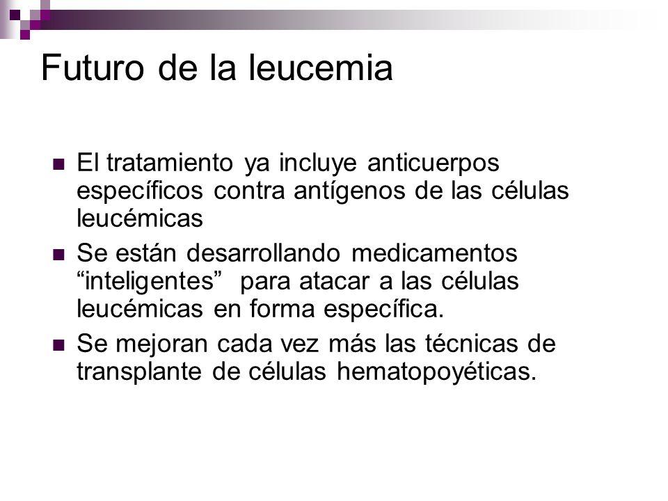 Futuro de la leucemia El tratamiento ya incluye anticuerpos específicos contra antígenos de las células leucémicas.