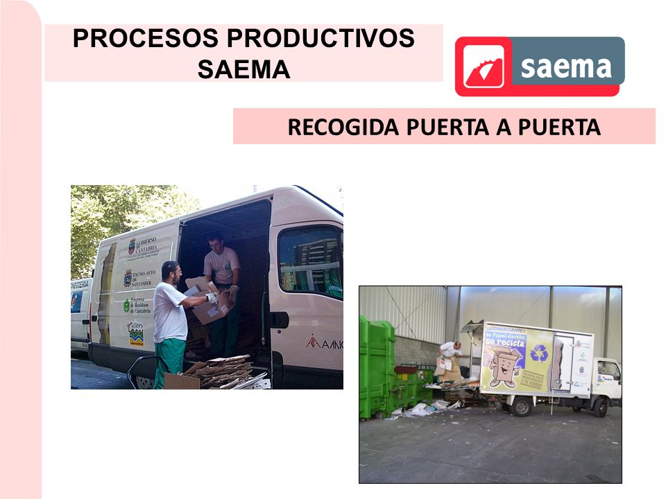 PROCESOS PRODUCTIVOS SAEMA RECOGIDA PUERTA A PUERTA