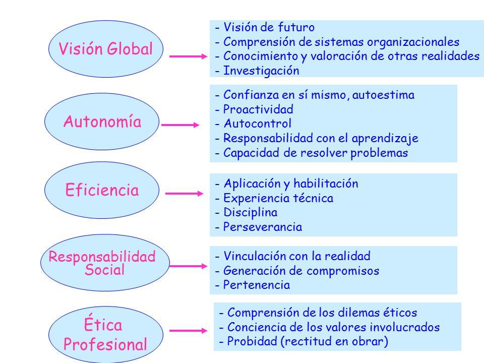 Visión Global Autonomía Eficiencia Ética Profesional Responsabilidad