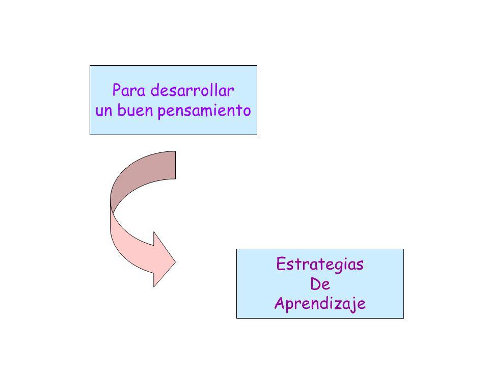 Para desarrollar un buen pensamiento Estrategias De Aprendizaje