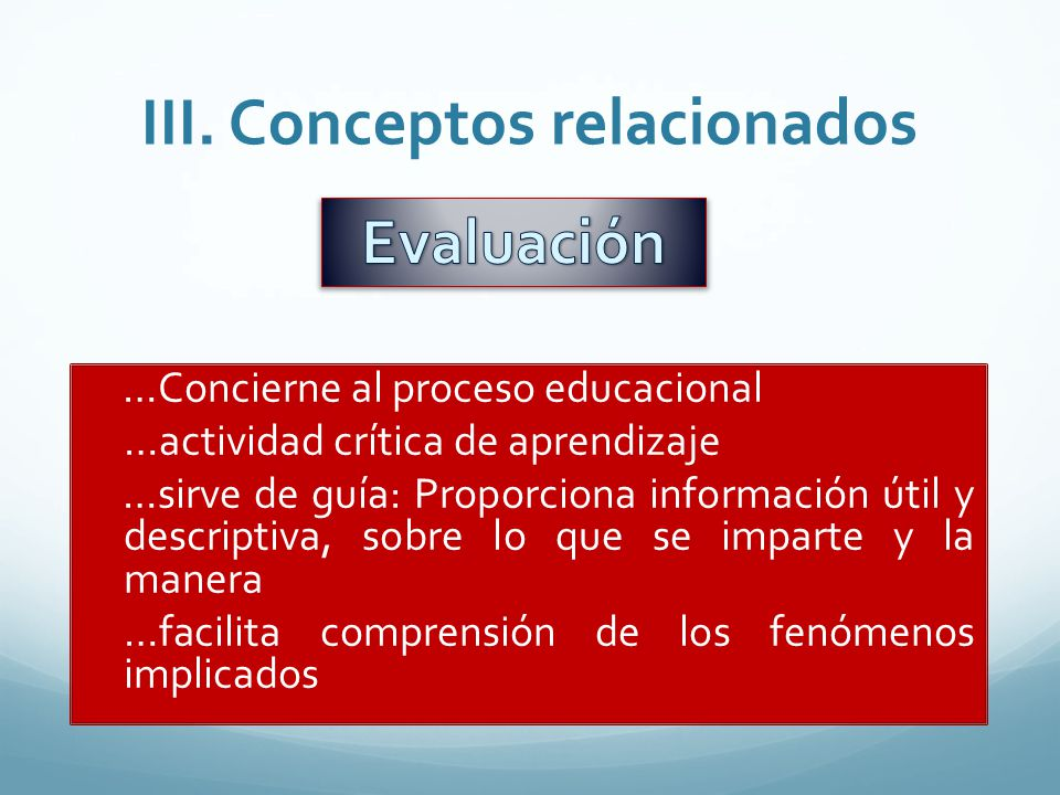 III. Conceptos relacionados