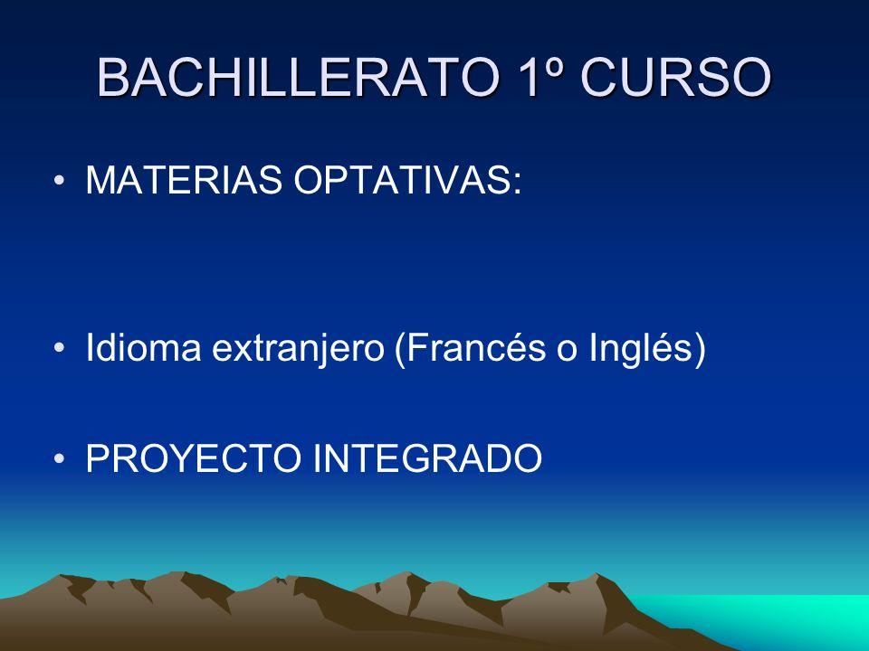 BACHILLERATO 1º CURSO MATERIAS OPTATIVAS: