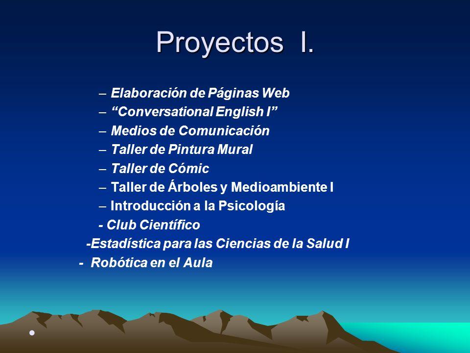 Proyectos I. Elaboración de Páginas Web Conversational English I