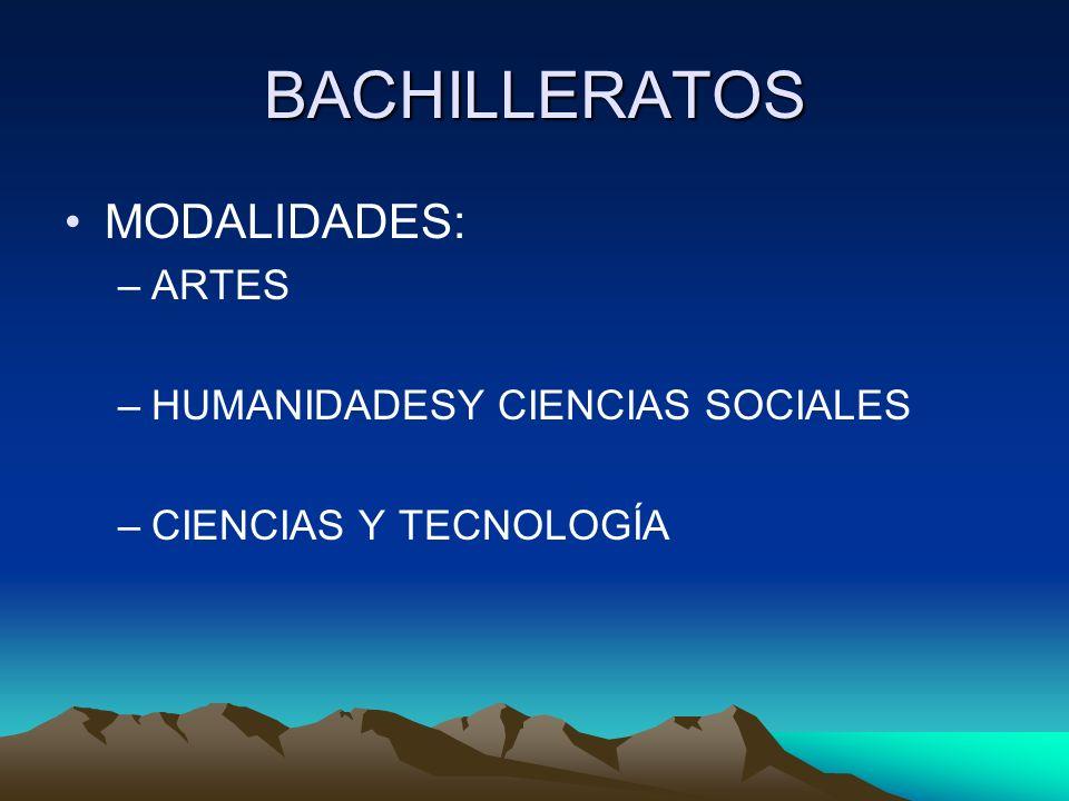 BACHILLERATOS MODALIDADES: ARTES HUMANIDADESY CIENCIAS SOCIALES