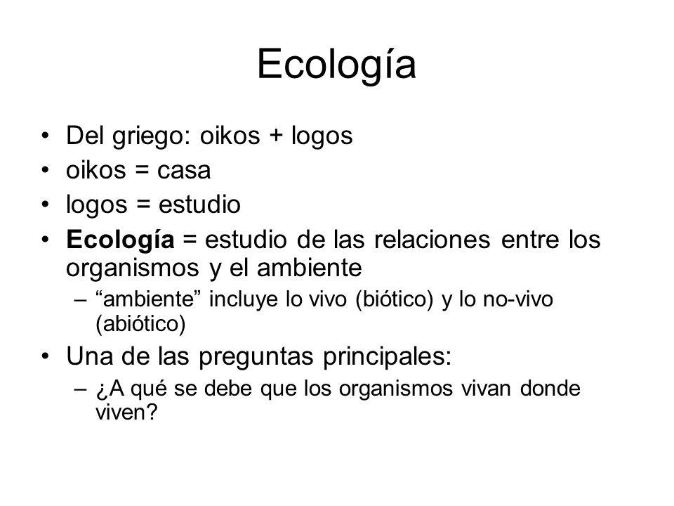Ecología Del griego: oikos + logos oikos = casa logos = estudio