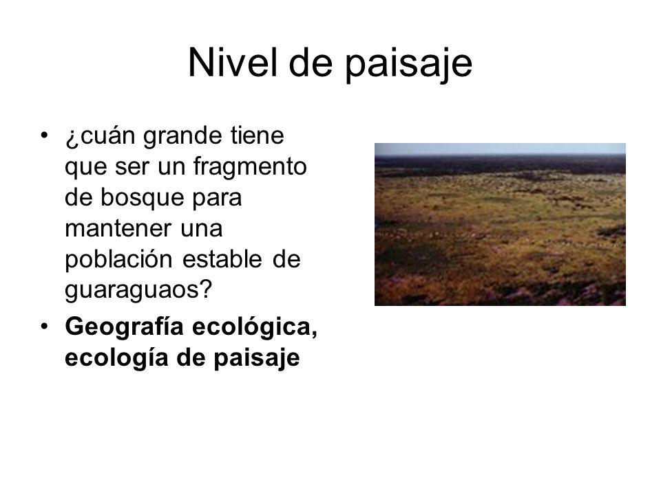 Nivel de paisaje ¿cuán grande tiene que ser un fragmento de bosque para mantener una población estable de guaraguaos