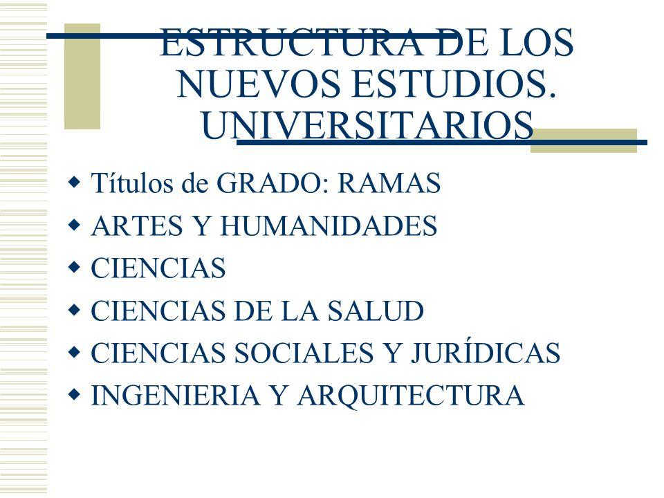 ESTRUCTURA DE LOS NUEVOS ESTUDIOS. UNIVERSITARIOS