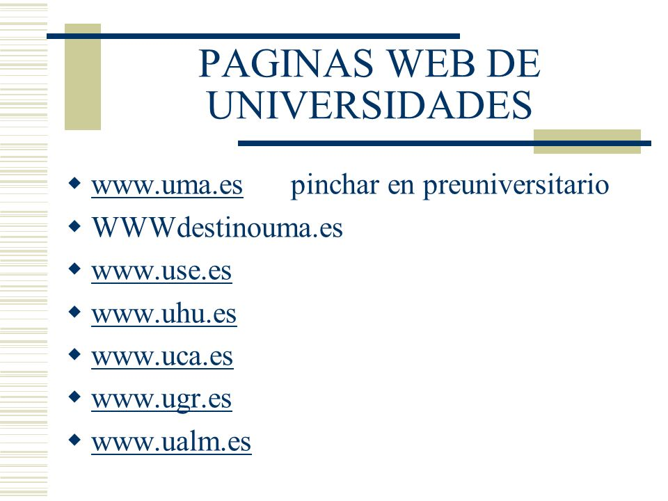 PAGINAS WEB DE UNIVERSIDADES
