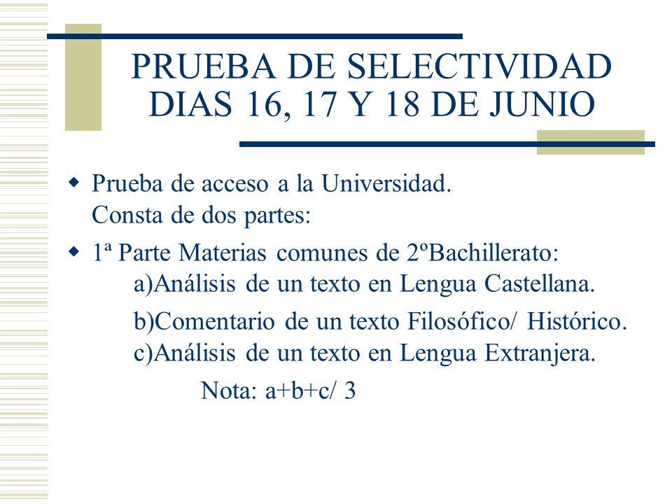 PRUEBA DE SELECTIVIDAD DIAS 16, 17 Y 18 DE JUNIO