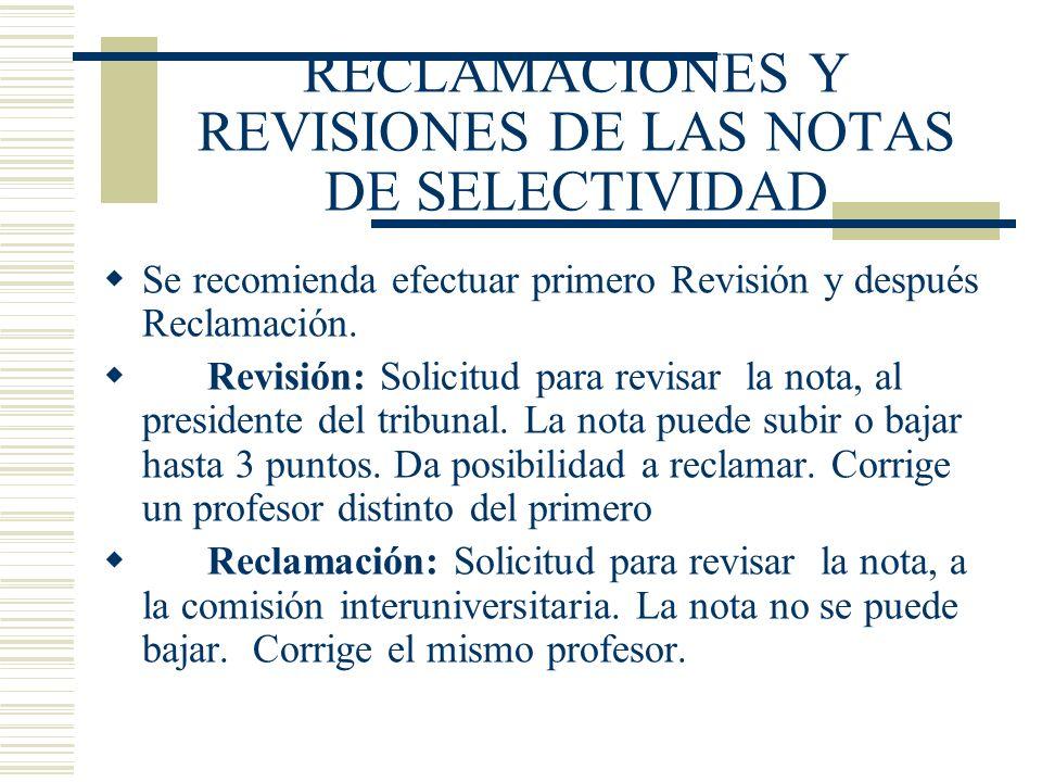 RECLAMACIONES Y REVISIONES DE LAS NOTAS DE SELECTIVIDAD