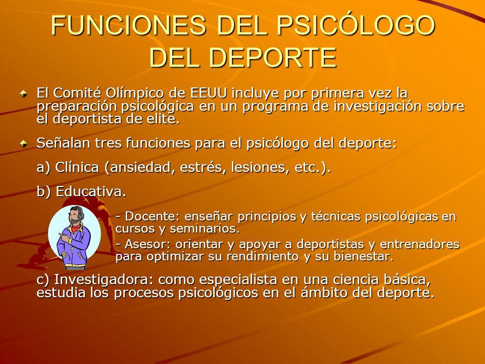 FUNCIONES DEL PSICÓLOGO DEL DEPORTE