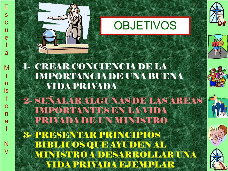 Escuela Ministerial. NV. OBJETIVOS. 1- CREAR CONCIENCIA DE LA IMPORTANCIA DE UNA BUENA VIDA PRIVADA.