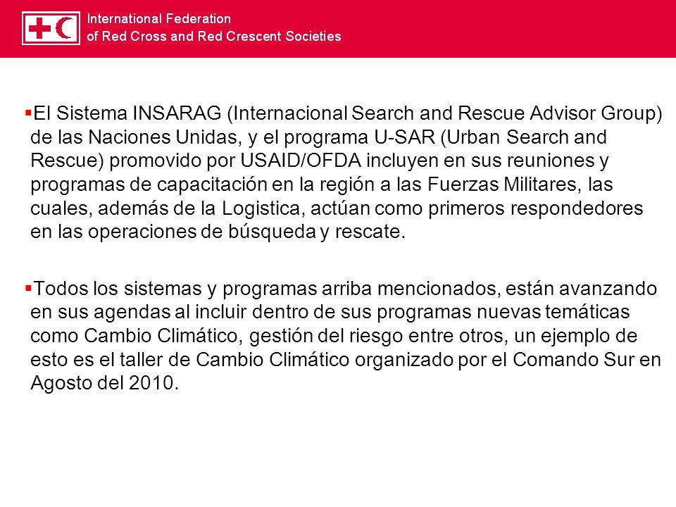 El Sistema INSARAG (Internacional Search and Rescue Advisor Group) de las Naciones Unidas, y el programa U-SAR (Urban Search and Rescue) promovido por USAID/OFDA incluyen en sus reuniones y programas de capacitación en la región a las Fuerzas Militares, las cuales, además de la Logistica, actúan como primeros respondedores en las operaciones de búsqueda y rescate.