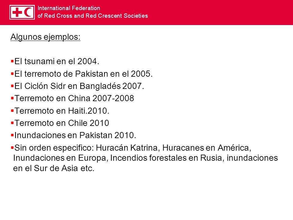 Algunos ejemplos: El tsunami en el 2004. El terremoto de Pakistan en el 2005. El Ciclón Sidr en Bangladés 2007.