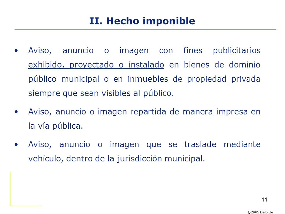 II. Hecho imponible
