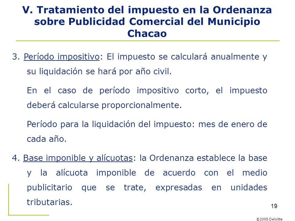 V. Tratamiento del impuesto en la Ordenanza sobre Publicidad Comercial del Municipio Chacao