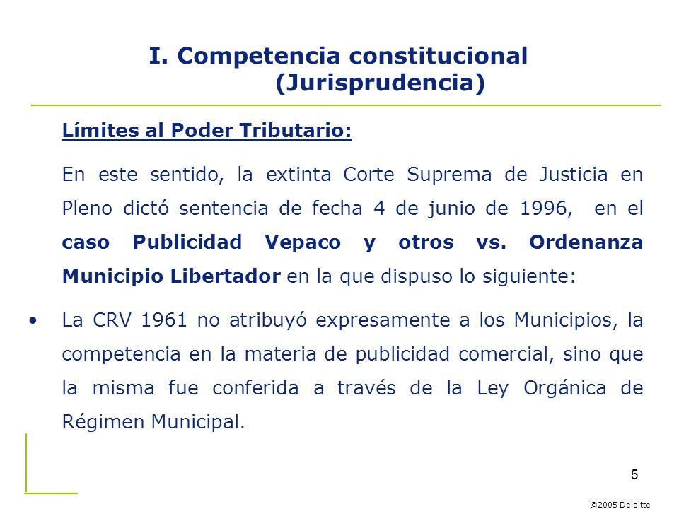 I. Competencia constitucional (Jurisprudencia)