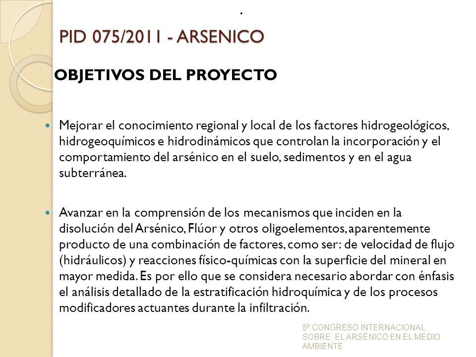 PID 075/2011 - ARSENICO OBJETIVOS DEL PROYECTO