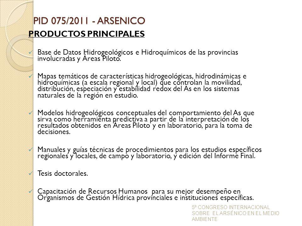 PID 075/2011 - ARSENICO PRODUCTOS PRINCIPALES