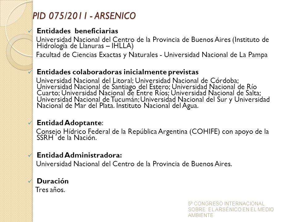 PID 075/2011 - ARSENICO Entidades beneficiarias
