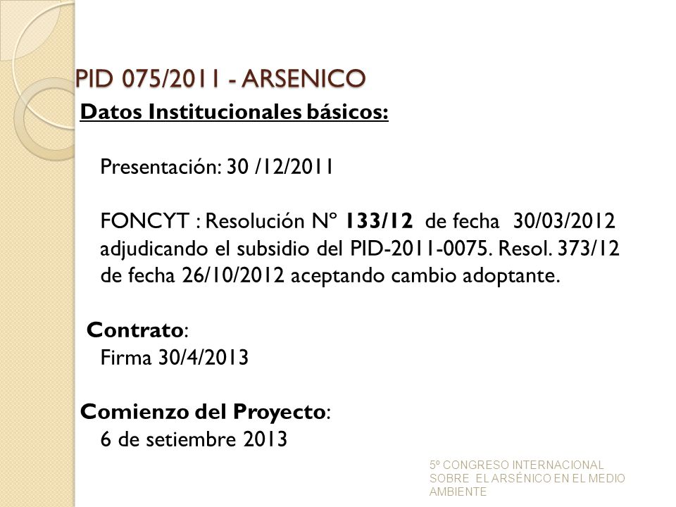 PID 075/2011 - ARSENICO