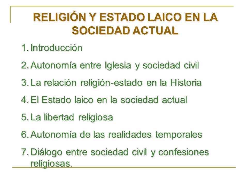 RELIGIÓN Y ESTADO LAICO EN LA SOCIEDAD ACTUAL