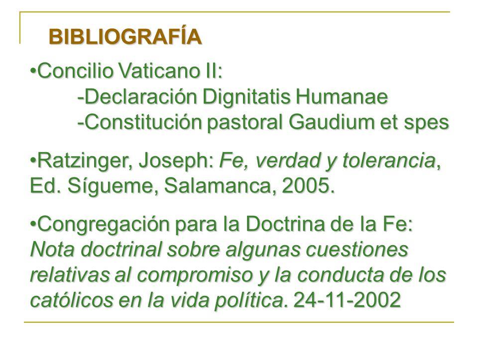 BIBLIOGRAFÍA Concilio Vaticano II: -Declaración Dignitatis Humanae. -Constitución pastoral Gaudium et spes.