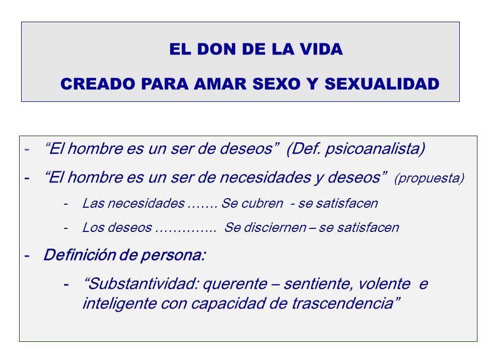EL DON DE LA VIDA CREADO PARA AMAR SEXO Y SEXUALIDAD