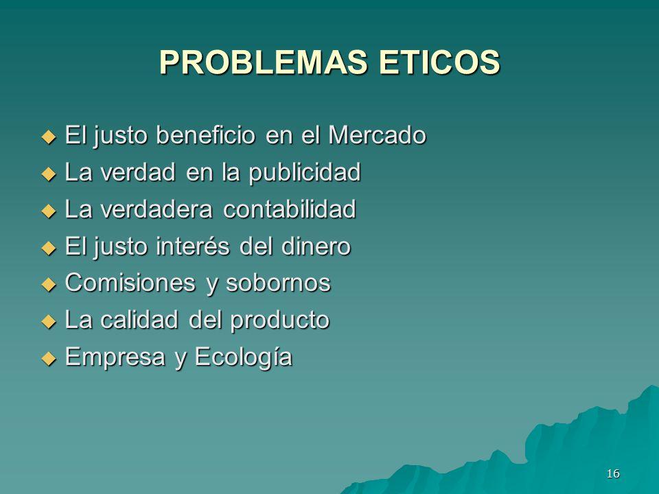 PROBLEMAS ETICOS El justo beneficio en el Mercado