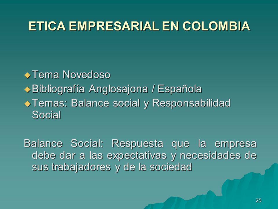 ETICA EMPRESARIAL EN COLOMBIA