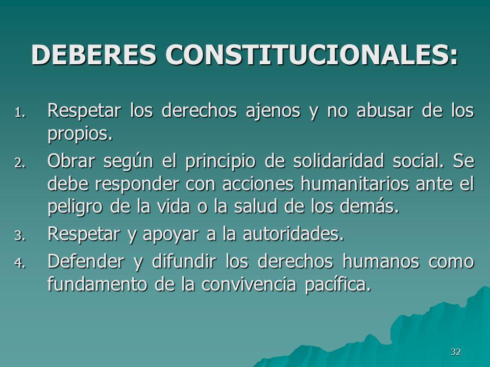 DEBERES CONSTITUCIONALES: