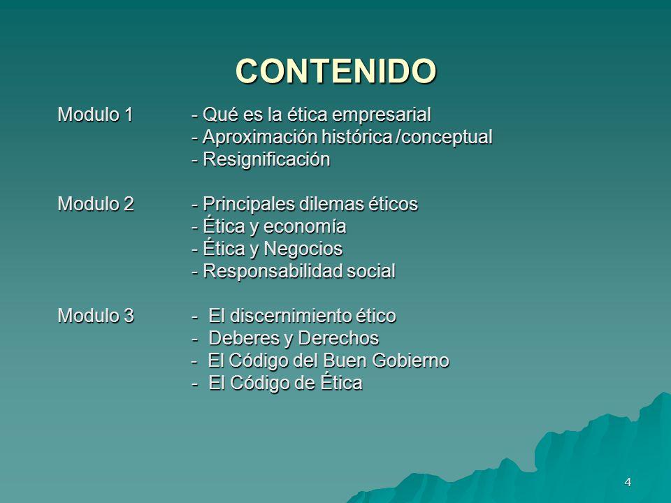 CONTENIDO Modulo 1 - Qué es la ética empresarial