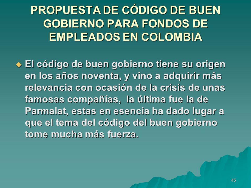 PROPUESTA DE CÓDIGO DE BUEN GOBIERNO PARA FONDOS DE EMPLEADOS EN COLOMBIA