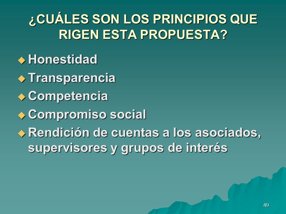 ¿CUÁLES SON LOS PRINCIPIOS QUE RIGEN ESTA PROPUESTA