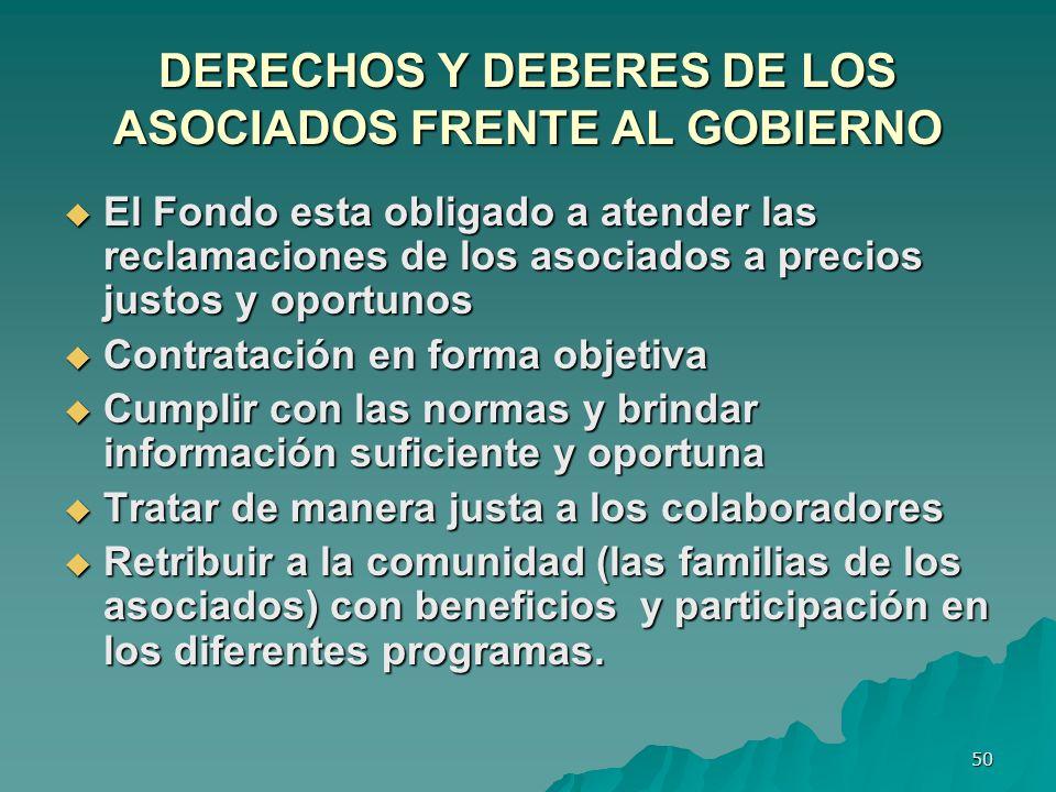 DERECHOS Y DEBERES DE LOS ASOCIADOS FRENTE AL GOBIERNO