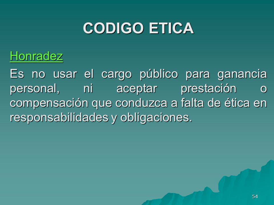 CODIGO ETICA Honradez.
