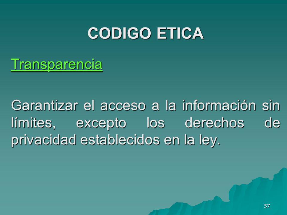 CODIGO ETICA Transparencia