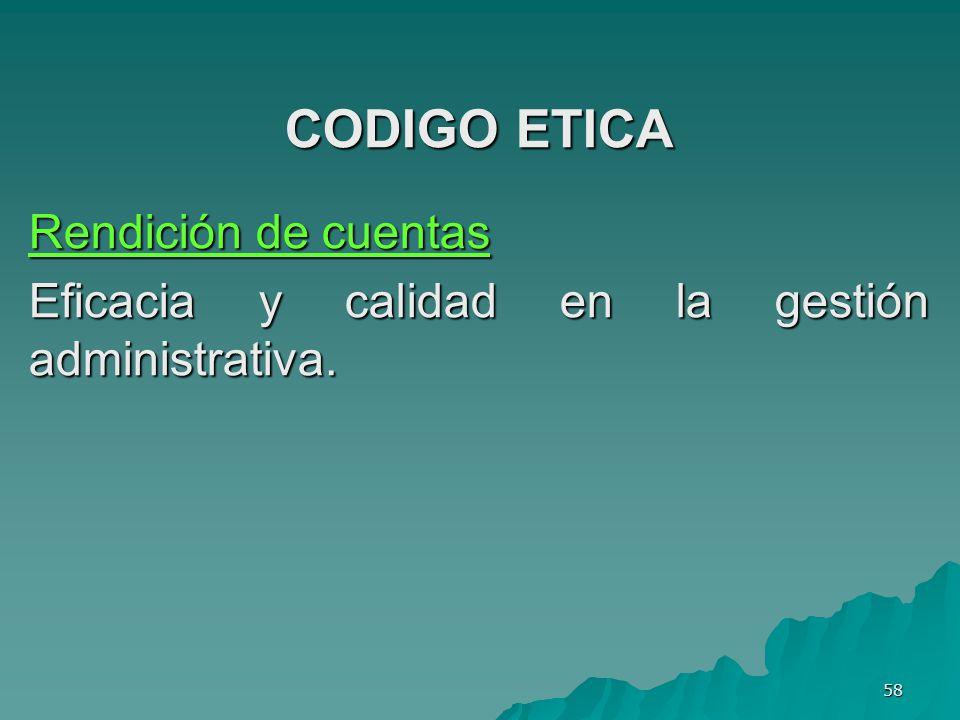 CODIGO ETICA Rendición de cuentas