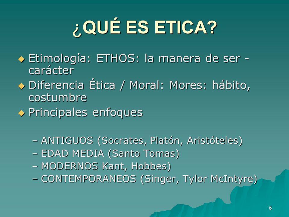 ¿QUÉ ES ETICA Etimología: ETHOS: la manera de ser - carácter