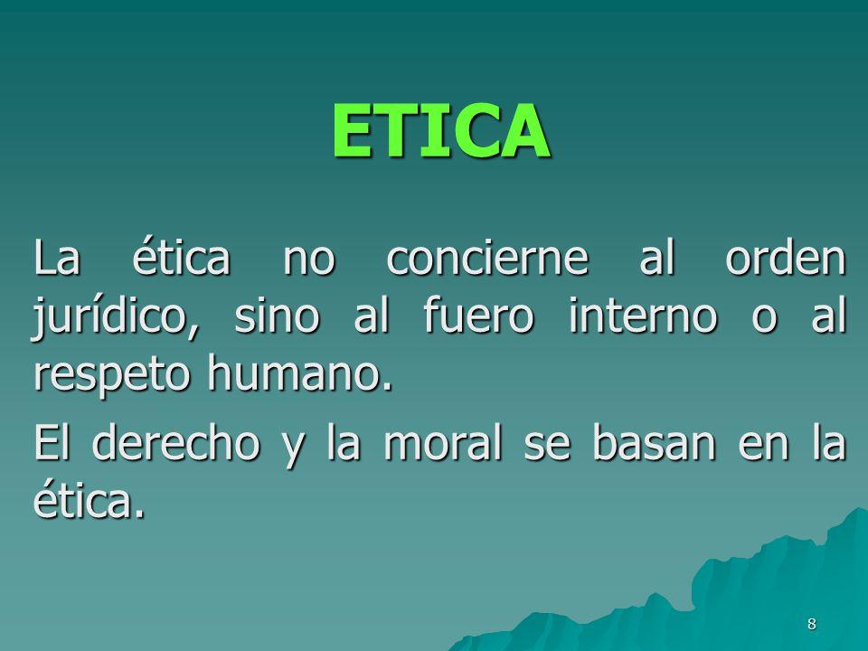 ETICA La ética no concierne al orden jurídico, sino al fuero interno o al respeto humano.